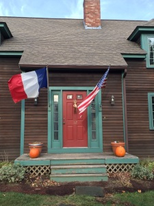 Front door with two flags