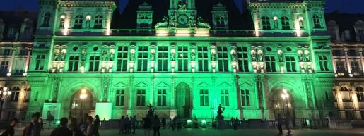Paris city hall with green light